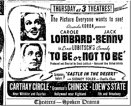 Feb. 15, 1942, To Be or Not to Be
