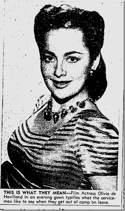 Feb. 18, 1942, Olivia de Havilland evening dress