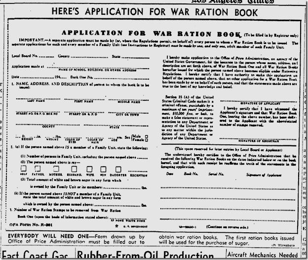 Feb. 18, 1942, War Ration Application Form