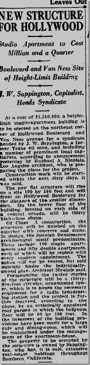 Jan. 21, 1926, Hollywood and Van Ness
