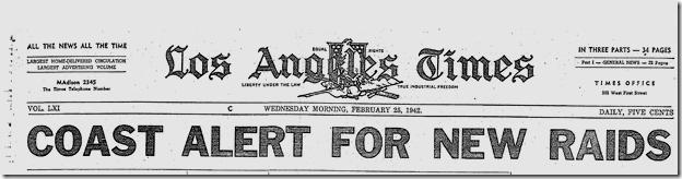 Feb. 25, 1942, Coast Alert for New Raids