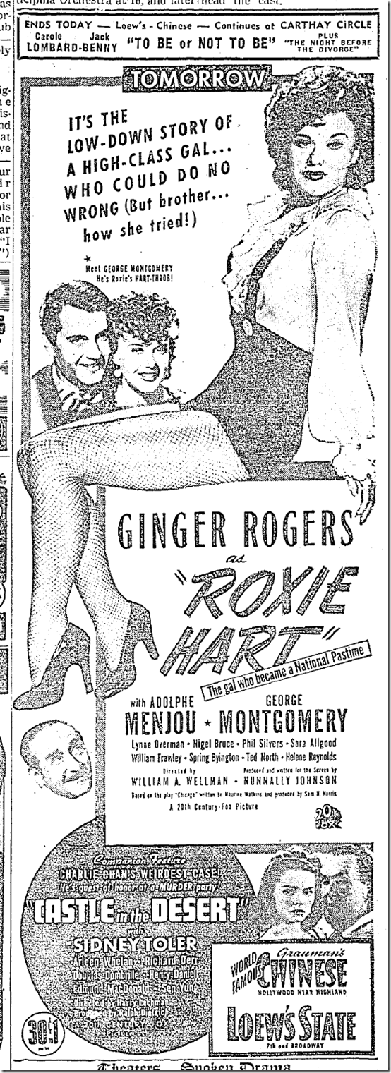 Feb. 25, 1942, Roxie Hart