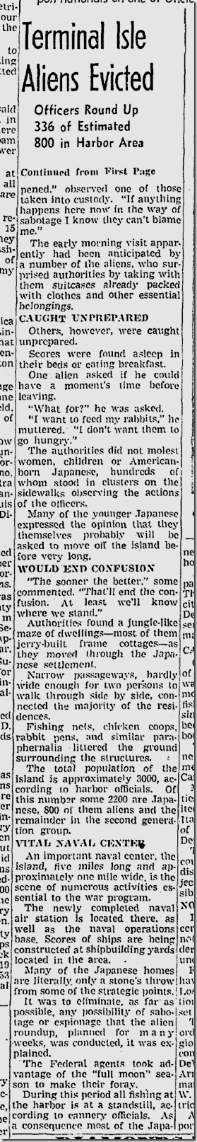 Feb. 3, 1942, Japanese Evictions