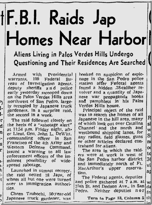 Feb. 8, 1942, FBI Raids Homes