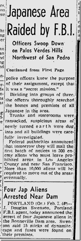 Feb. 8, 1942, FBI Raid