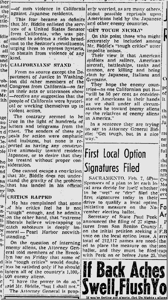 Feb. 8, 1942, Washington on Japanese Relocation