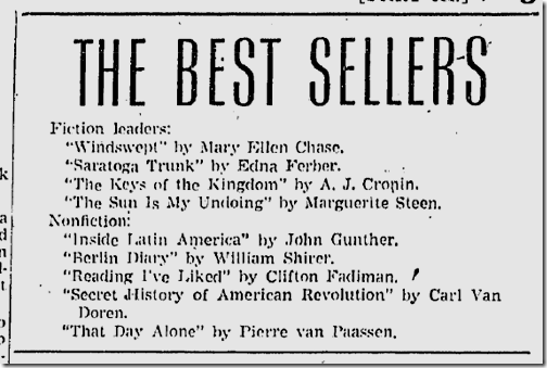 Feb. 8, 1942, Best Sellers