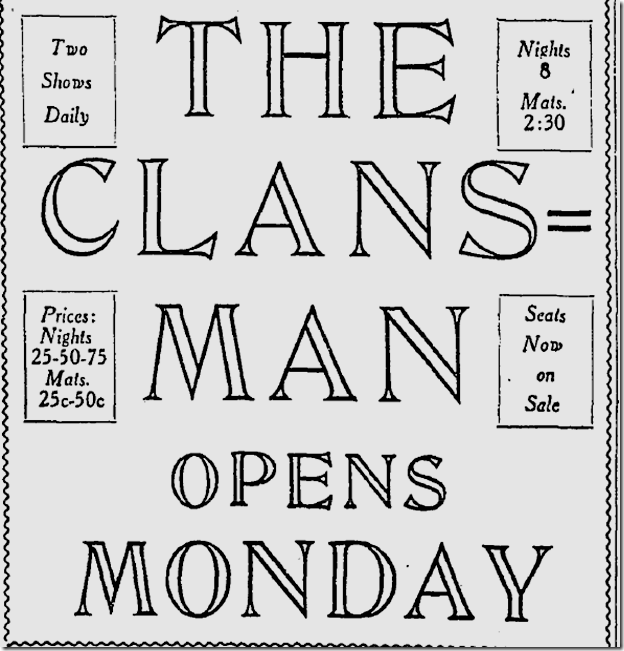 Feb. 6, 1915, The Clansman,