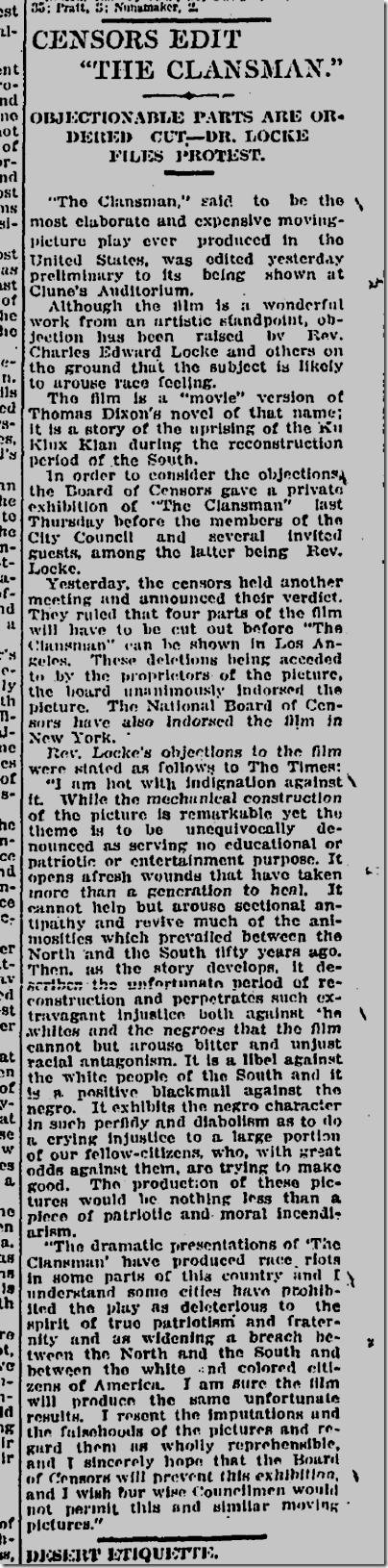 Jan. 31, 1915, The Clansman