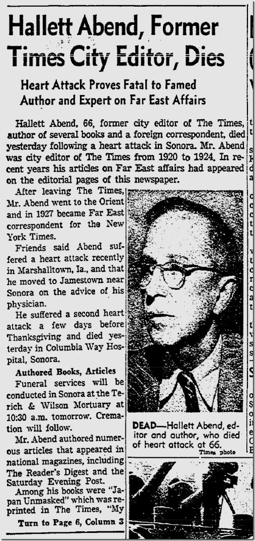 Hallett Abend Dies, Nov. 28, 1955