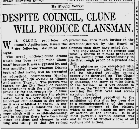 Feb. 6, 1915, The Clansman