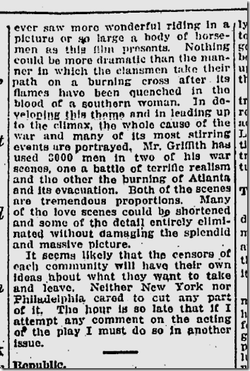 Feb. 9, 1915, The Clansman