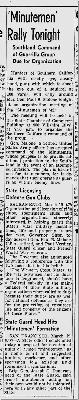 March 20, 1942, Minutemen