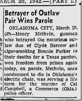 March 20, 1942, Bonnie and Clyde
