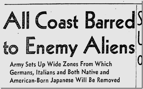 Coast Barred to Enemy Aliens