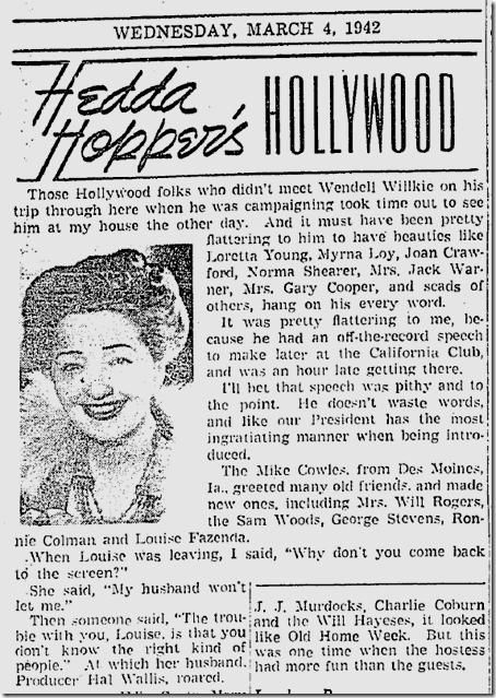 March 4, 1942, Hedda Hopper