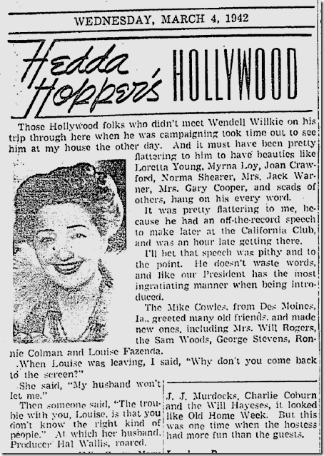 March 4, 1942, Hedda Hopper