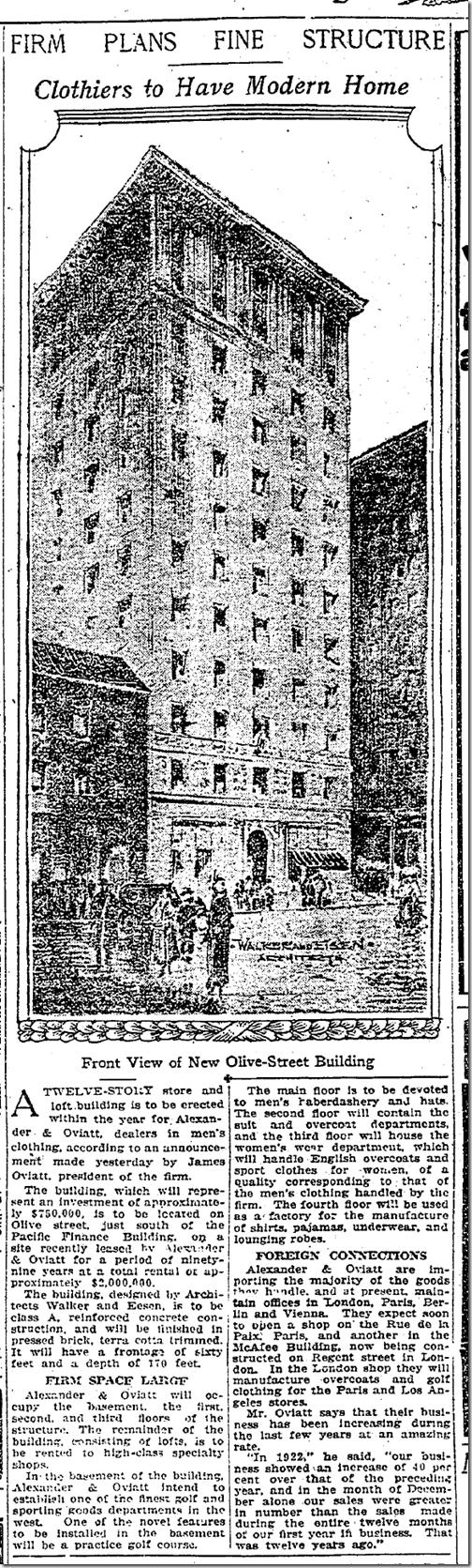 Oviatt Building, Jan. 14, 1923