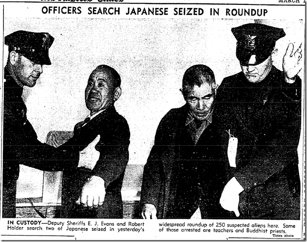 March 14, 1942, Japanese Arrested