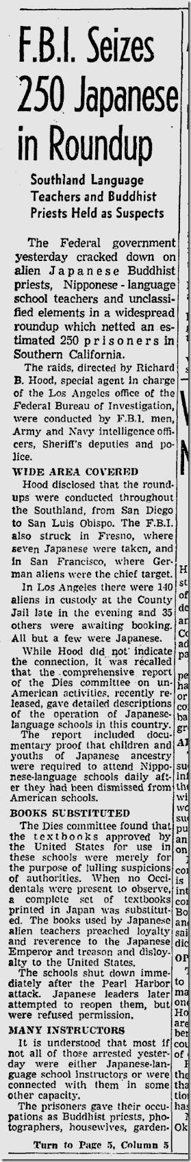 March 14, 1942, FBI Arrests Japanese