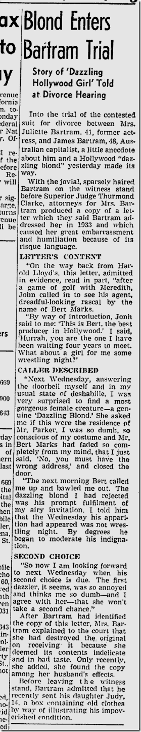 March 14, 1942, Dazzling Blond