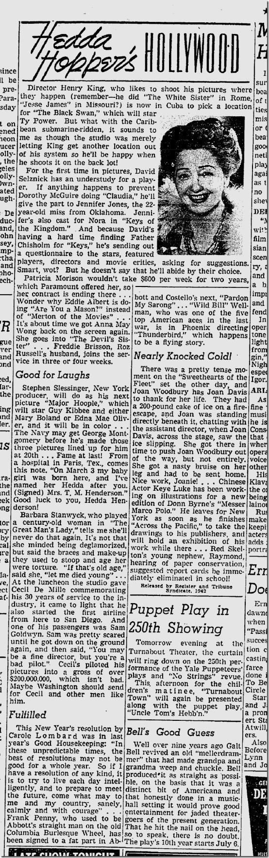 March 14, 1942, Hedda Hopper
