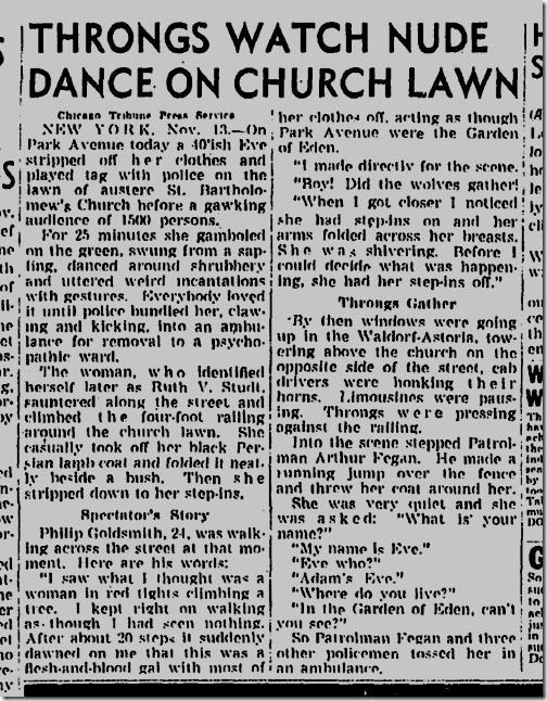 Nov. 14, 1943, Throngs Watch Nude Dance on Church Lawn