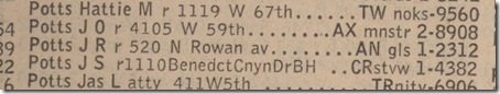 1946 Phone Directory J.S. Potts