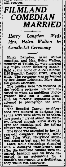 July 28, 1929, Harry Langdon