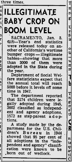 Jan. 6, 1946, Illegitimate Babies