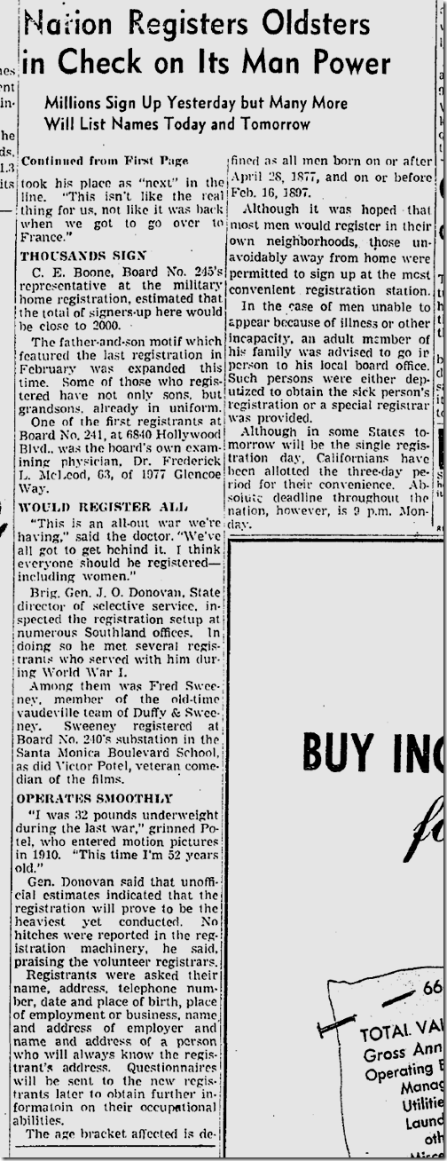 April 26, 1942, Draft Registration