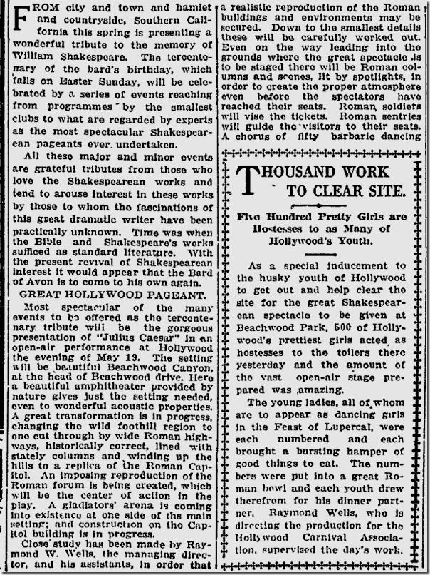 April 16, 1916, Julius Caesar