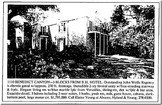 Aug. 10, 1986, 1110 Benedict Canyon Drive