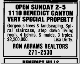 June 26, 1988: 1110 Benedict Canyon