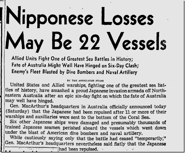 May 9, 1942, Battle of the Coral Sea