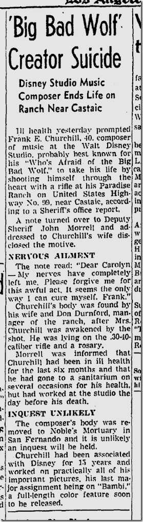May 15, 1942, Frank Churchill suicide