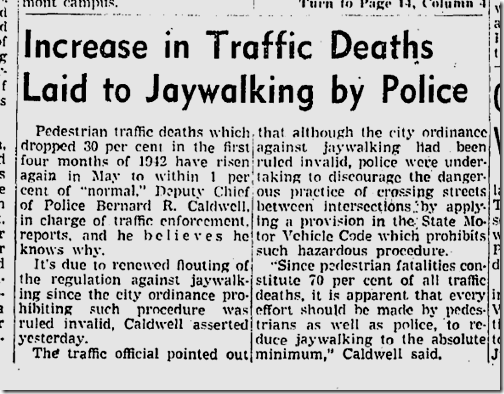 May 16, 1942, Jaywalking Blamed for Traffic Deaths