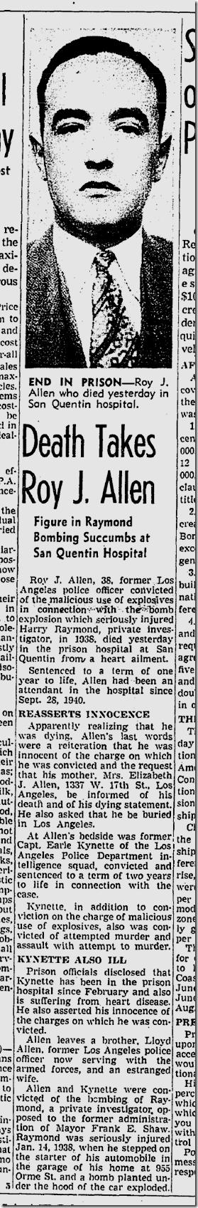 May 18, 1942, Roy Allen Dies