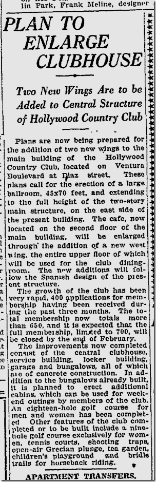 Feb. 6, 1921, Hollywood Country Club