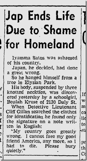 May 23, 1942, Suicide