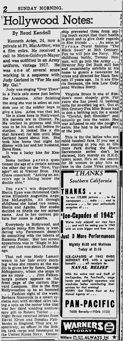 May 24, 1942, Hollywood Notes