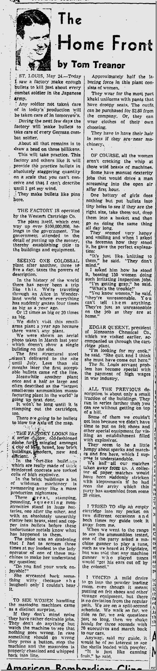May 23, 1942, Tom Treanor