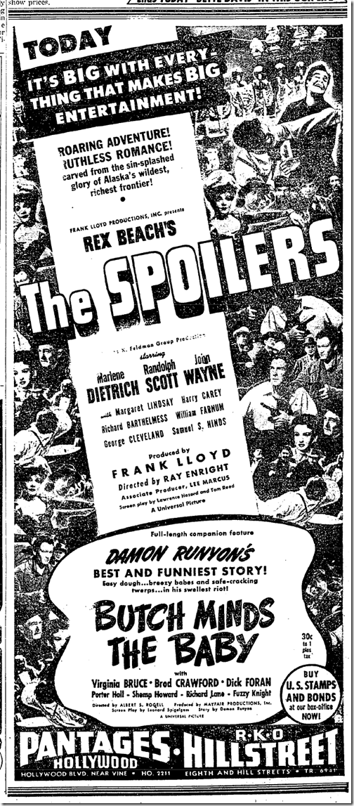 May 26, 1942, The Spoilers