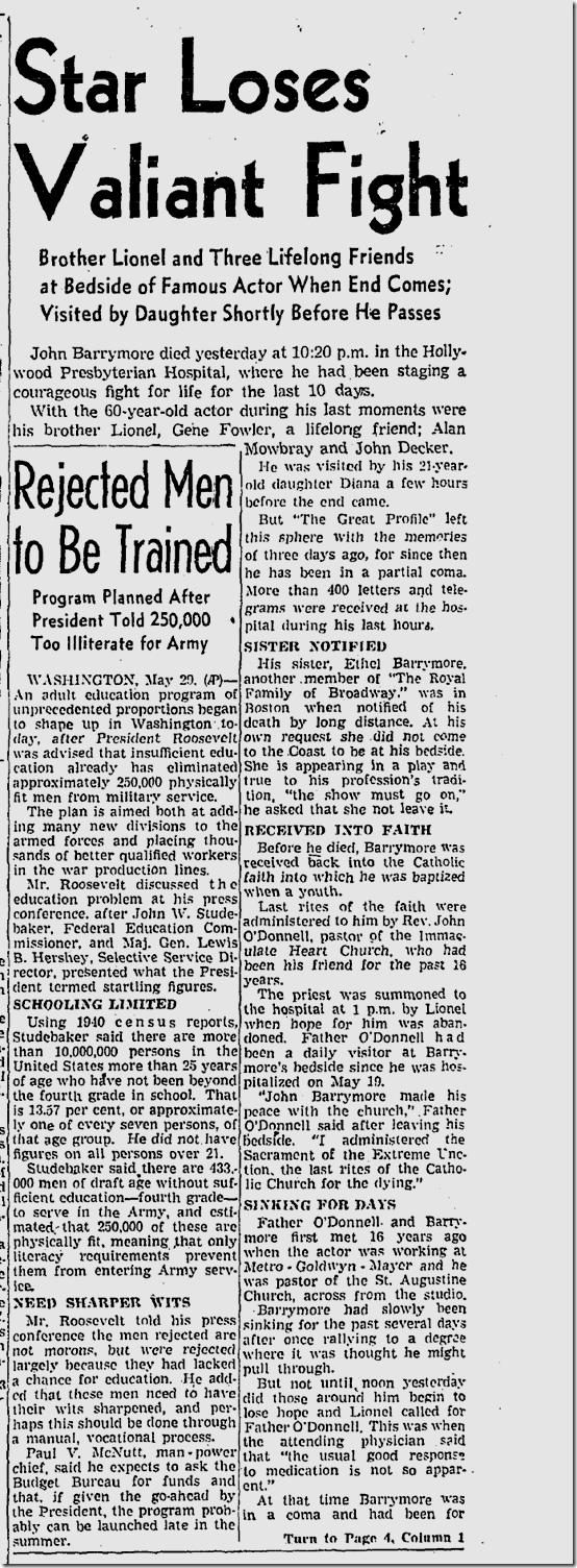 May 30, 1942, John Barrymore Dies