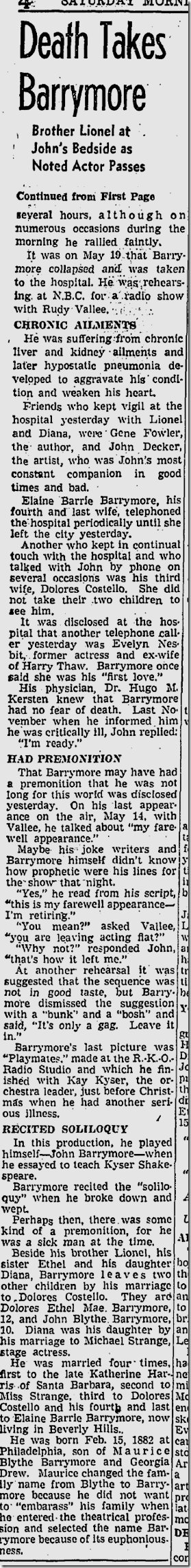 May 30, 1942, Barrymore Dies