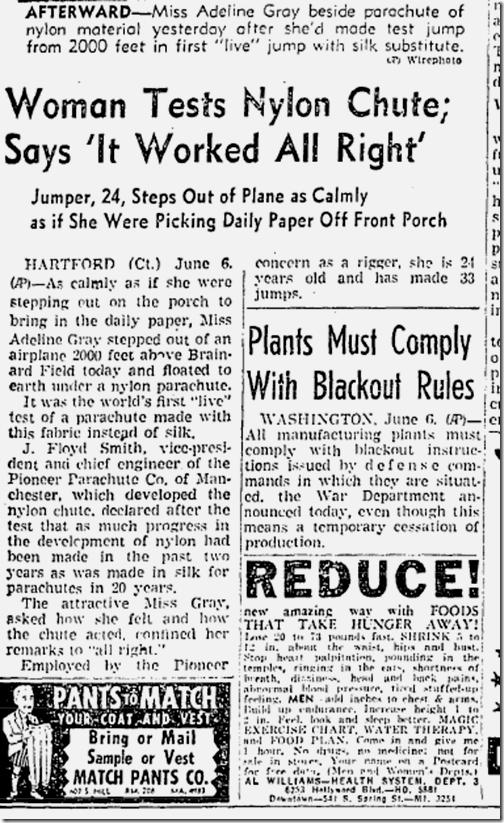 June 7, 1942, Parachute Tester