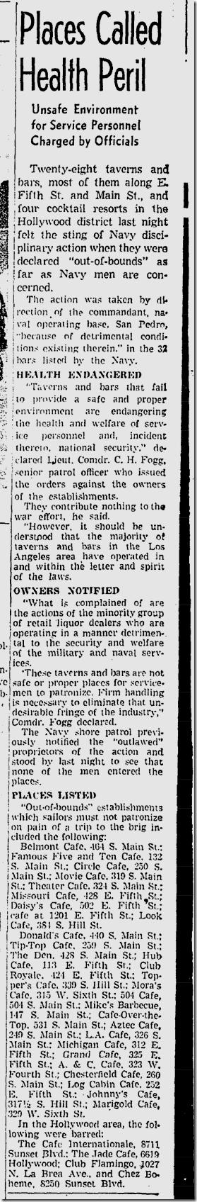 June 7, 1942, Off Limits