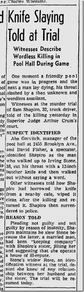 June 12, 1942, Stabbing