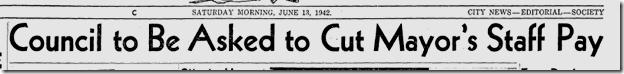 June 13, 1942, City Cutbacks