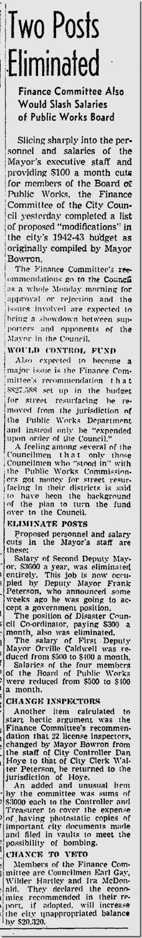 June 13, 1942, Budget Cuts
